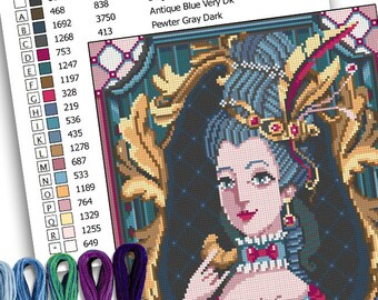 Counted cross stitch and needlepoint pattern - Marie Antoinette portrait -PDF Instant download