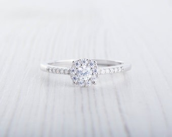 Lab diamond halo Engagement Ring - Available in Sterling Silver or White Gold - Handmade