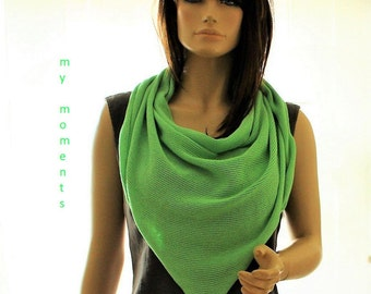 TRIANGLE SCARF Cotton apple green