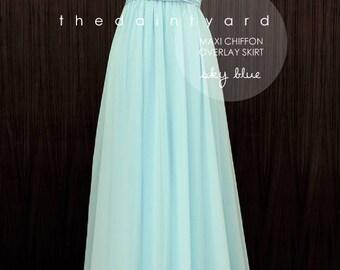 Chiffon Overlay Skirt in Sky Blue for Maxi Long Convertible Dress / Infinity Dress / Wrap Dress / Octopus Dress