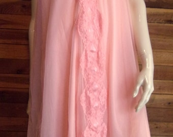 Viintage SEARS peach Chiffon Size Large Babydoll Nightgown 3840