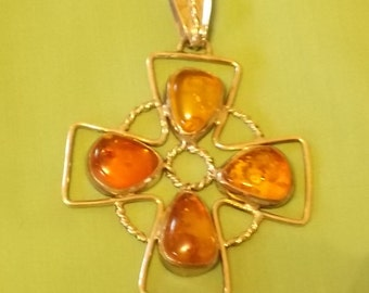 Hand Made Sterling Silver and Amber Pendant.  (469)