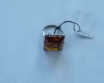 502.  Sterling Silver Ring with a square faux Topaz