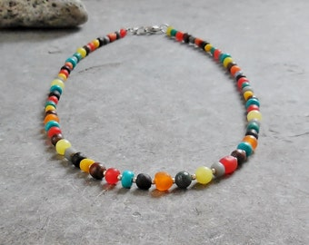 Multicolor Necklace, Bohemian Jewelry Beaded Necklace, Boho Jewelry Everyday Necklace, Ethnic Jewelry Glass Beads Necklace, Gift for Her