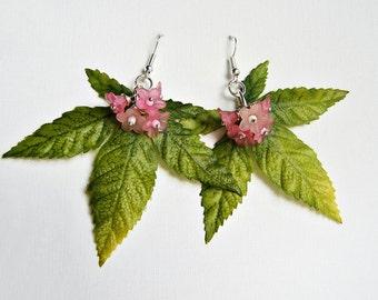 Leaf earrings, Pink flower earrings, Romantic earrings, Japanese maple leaves, Leaves and flowers