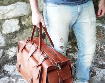 "Apollo Weekender Original Leather Bag/20""Handmade Full Grain in Tobacco / Waxed Brown or Dark Brown/Travel Duffel Bag"
