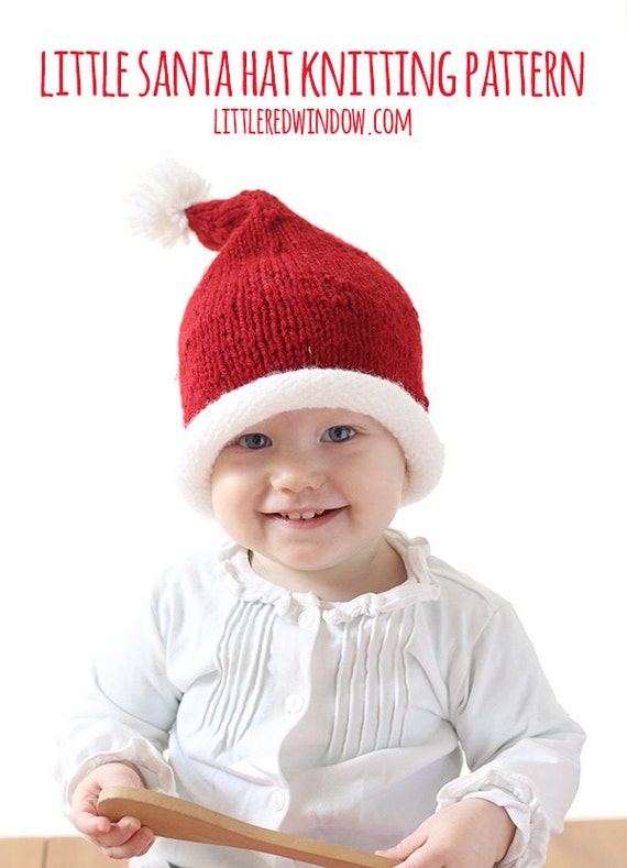 Little Santa Hat KNITTING PATTERN - Christmas knit hat Santa Claus pattern for babies, infants - sizes 0-3 m, 6 m, 12 months, 2T+