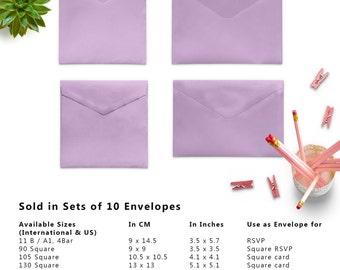 10 x Lavender Wedding Envelopes, Mini Envelopes, Money Envelopes, Paper Envelopes, Square Envelopes, Set of 10 Envelopes