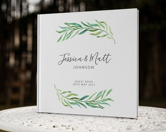 Greenery Wedding Guestbook, Eucalyptus Wedding Guest Book, Square Wedding Book, GB 111