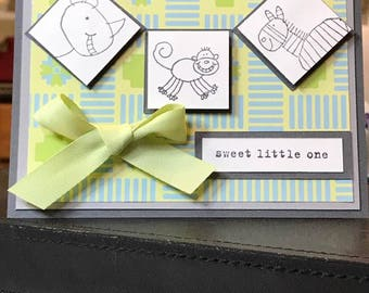 Welcome Sweet Little One Baby Card in Handmade