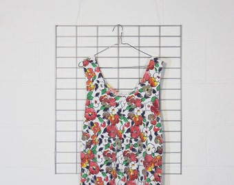 super faded worn tropical floral romper with pockets