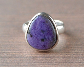 Free-Form Plain Bezel Charoite Ring // Charoite Jewelry // Sterling Silver // Village Silversmith
