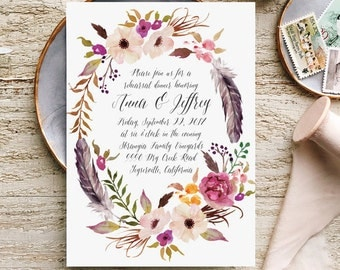 Rustic Rehearsal Dinner Invites for Boho Chic Weddings