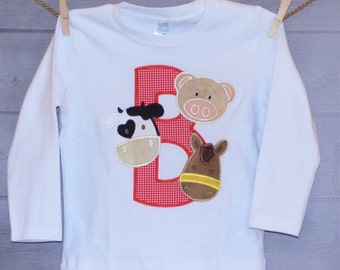 Personalized Initial Letter with Cow Pig Horse Applique Shirt or Onesie Girl or Boy