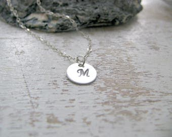 Personalized Initial Choker Initial Necklace 925 Sterling Silver letter choker custom hand stamped disc monogram initial letter jewelry gift