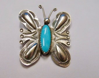 T YAZZIE Turquoise and Sterling Silver Butterfly Pin Item W # 91