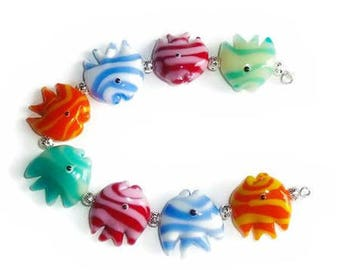 Glass Lampwork Fish Beads, approximately 17mm, Glass Lampwork Beads, Glass Fish Beads, Glass Lampwork Fish Beads, Your Choice of Color