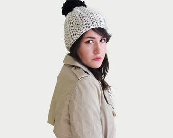Pom pom Hat - Hand Knit Hat - Pom Pom Beanie - Chunky Knit Beanie - Pompom Unisex Winter Hat in Marble & Black | The Ursa Minor Hat |