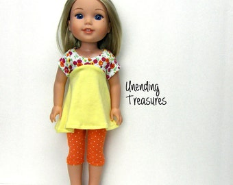14 inch doll clothes AG doll clothes lemon yellow flared top and orange w/white pindots capris made to fit like wellie wishers doll clothes