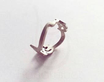 925 Sterling Silver Arabic Calligraphy Name Ring - Up to 2 Names - Silver Arabic Name Ring