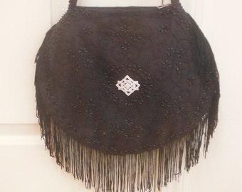 Black Beaded Bag with Fringe, by VKK, Vintage 1960's - 1970's