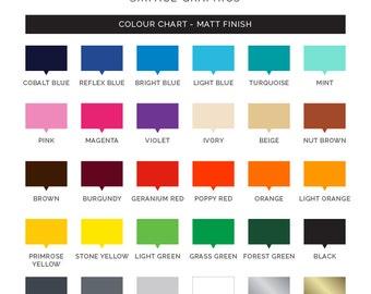 Colour Samples - Matt Wall Vinyl Colour Samples