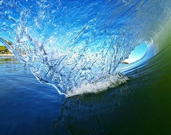 Surfing Wave Photography - Surf Photo in the Curl of a Blue Wave Breaking in California - Surfer Beach House Home Decor