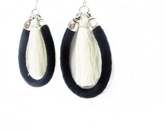 Tassel earrings, Large statement earrings, Black and white, Cotton fabric jewelry, Sterling silver, Handmade tassels, Lightweight