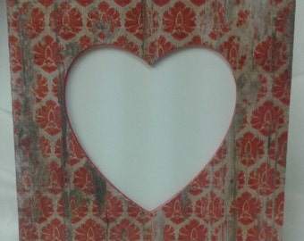 Picture frame with distressed red damask on wood panels look. Rustic/ Country. Cut out heart photo opening.