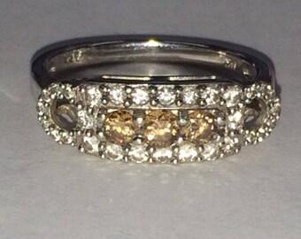 14K White Gold White and Brown DIAMOND Ring .76CTW Size 7 Stunning!