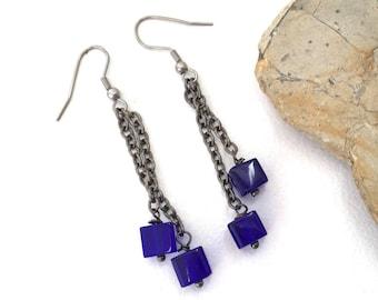 Cobalt blue earrings, blue glass cube, unusual earrings, bright blue earrings, woman gift, baroque jewelry, statement piece, long dangle,