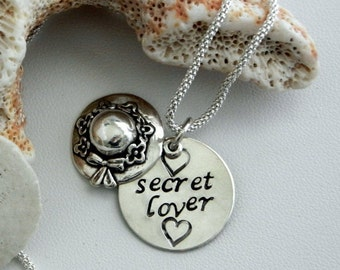 Sterling silver, Secret lover, Hand stamped,keep it a secret under your hat exclusive sterling silver charm necklace,ON SALE,heart,valentine