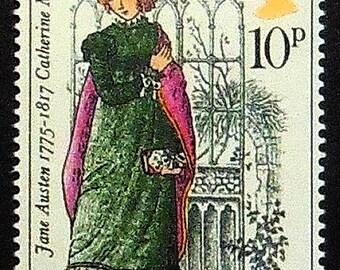 Jane Austen 1775-1817, Catherine Morland, UK -Handmade Framed Postage Stamp Art 21375AM