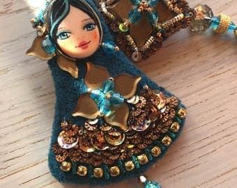 OOAK / Blu velvet earrings / Art dolls earrings /