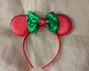 Merry Christmas Mouse Ears headband- Holiday- red and green glitter-vacation,trip,photo prop,magical trip,girls headband,adult headband