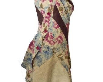"Stylish and original floral and satin dress ""Elegance"" T38 /40 (M/L)"