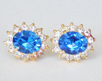 Sapphire Blue Crystal Post Earrings Set With Clear Crystals