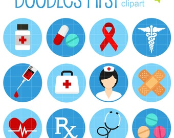 Medical Icons Collage Sheets for Scrapbooking Card Making Cupcake Toppers Paper Crafts Digital Collage Sheet