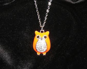 Cute Rhinestone studded Owl Pendant necklace with silver plated necklace