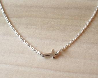 Tiny Silver Sideways Cross Necklace