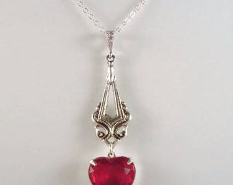 Red Heart Necklace Victorian Inspired Heart Valentine's Day