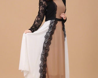 White Maxi Dress with Black Lace Details - Contrast Color Maxi Dress with Long Lace Sleeves - Deep Pink Maxi Dress -100+Colors- A164