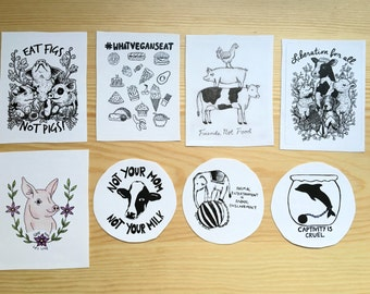 Bundle Pack 8 Vegan Stickers!! Animal rights, animal liberation, friends not food