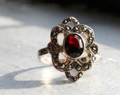 Vintage Red Garnet & Marcasite Ring. Sterling Silver Floral Flower Type Shape. Victorian Gothic Style Ring. Lovely! Hallmarked.