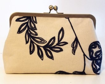Embroidered Linen Bridal Clutch, Floral Bridal Purse, Navy Embroidered Bridesmaid Clutch, Unique Purse, Wedding Clutch, 8-inch Clasp,
