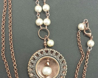 Pendant Necklace, Copper Necklace, Copper and Pearls Necklace, Boho Necklace