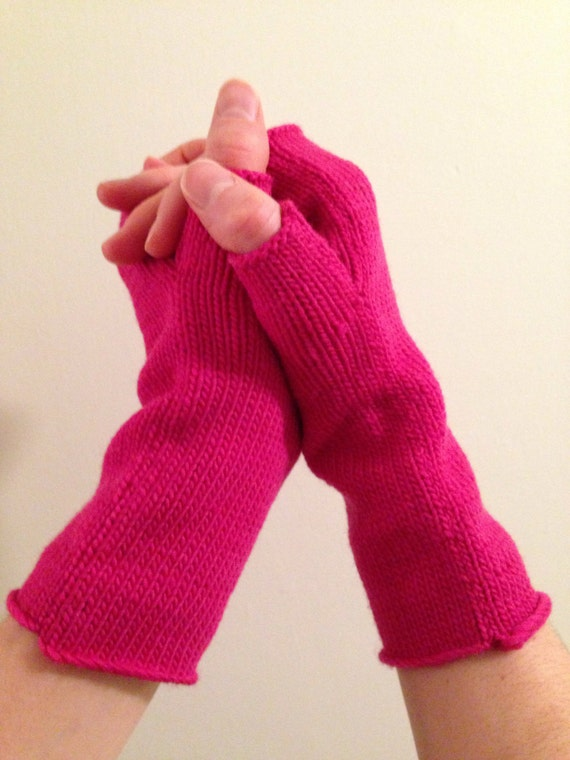Fingerless mittens soft and warm knit from 100% USA made wool matches pink pussy hat