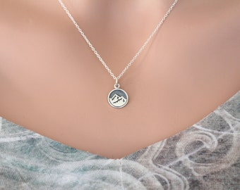 Sterling Silver Earth Element Charm Necklace, Silver Earth Mountain Element Charm Necklace, Mountain Charm Necklace, Earth Element Necklace