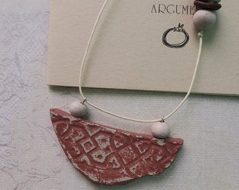 Brick red ceramic necklace. One of a kind gift for her.