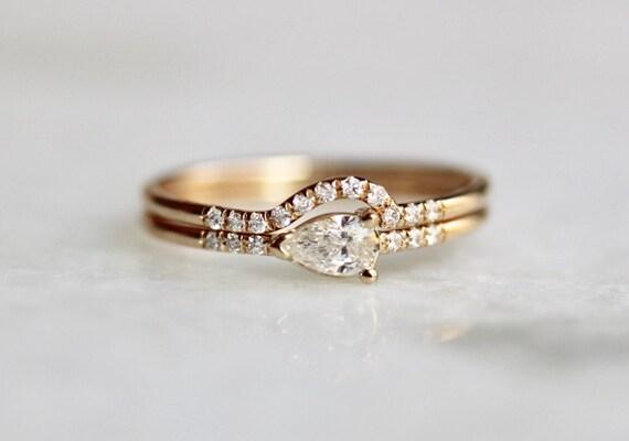 14k pear engagement ring set wrap around wedding